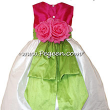 Cerise (Hot Pink) Antique White and Apple Green Flower Girl Dresses with bustle and flowers