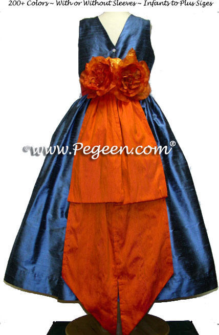 Arial Blue and Tangerine Orange Silk matching FLOWER GIRL DRESSES for Ann Taylor's Pacific Blue