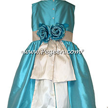 Bahama Breeze and Bisque Silk flower girl dress style 383