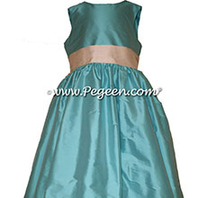 Bahama Breeze and Bisque Flower Girl Dresses - Bahama Breeze and Bisque Style 398 by PEGEEN