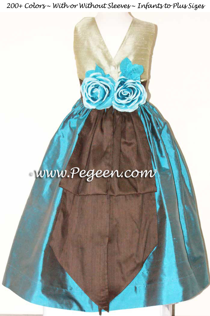 Silk Flower Girl Dresses in Baltic Sea Teal and Sage Green   Pegeen
