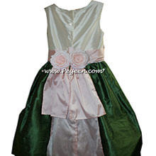 New Ivory, Petal Pink and Golf Green flower girl dresses Style 383
