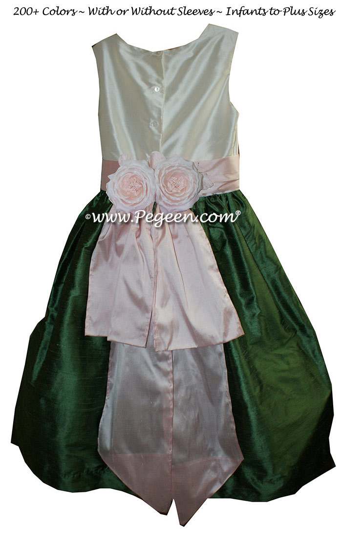 Peony Pink, Bisque and Golf Green flower girl dresses Style 383