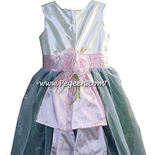Antique White Basil Green and Blush Pink Silk Flower Girl Dresses Style 313 from Pegeen