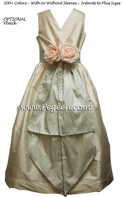 Baltic Sea Teal and Sage Green SILK FLOWER GIRL DRESSES