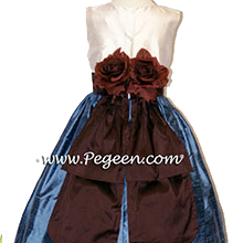 STORM BLUE, SEMI-SWEET BROWN AND IVORY SILK Flower Girl Dresses