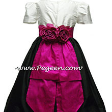 BLACK AND WHITE AND FUSCHIA (BOING) flower girl dresses