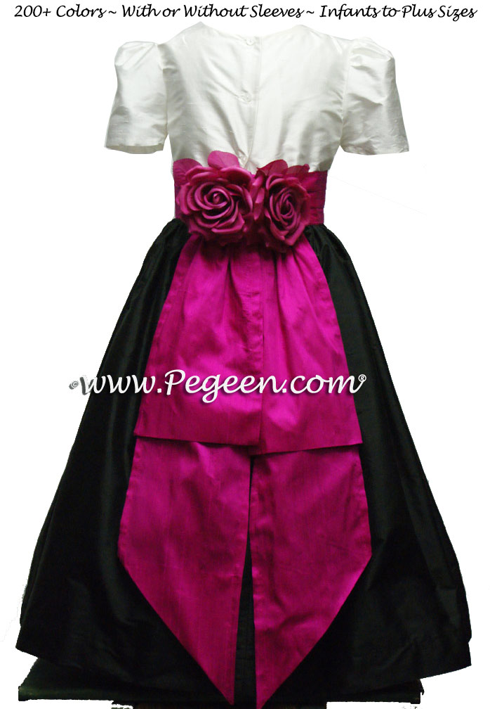 Black and Boing (fuschia pink) silk flower girl dress style 355