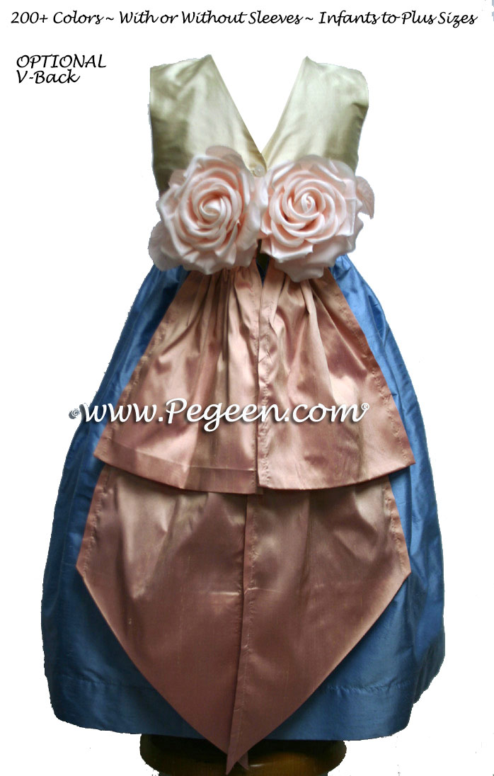 French blue, lotus pink and antique white Flower Girl Dresses Style 383