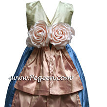 French blue and pink flower girl dresses