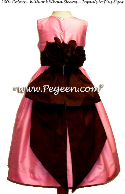 Bubblegum pink and Chocolate silk flower girl dresses Style 383