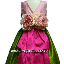 Bubblegum Pink and  Hot Pink silk Flower Girl Dresses