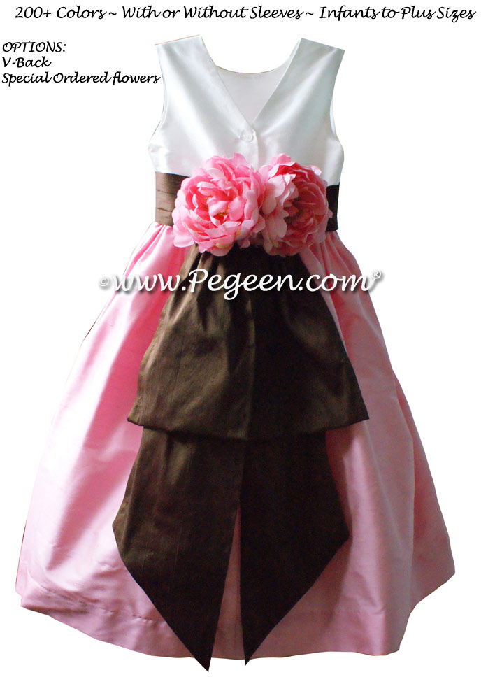 Hibiscus Pink Antique White and Chocolate flower girl dresses Style 383