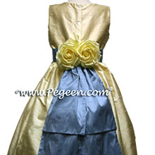 buttercreme flower girl dresses with azuline blue sash