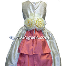 buttercreme Flower Girl Dresses with sunset peach sash