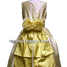 buttercreme flower girl dresses with lemonade yellow sash