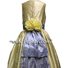 buttercreme flower girl dresses with lilac sash