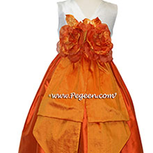 Carrot Orange, New Ivory and Tangerine flower girl dresses Style 383