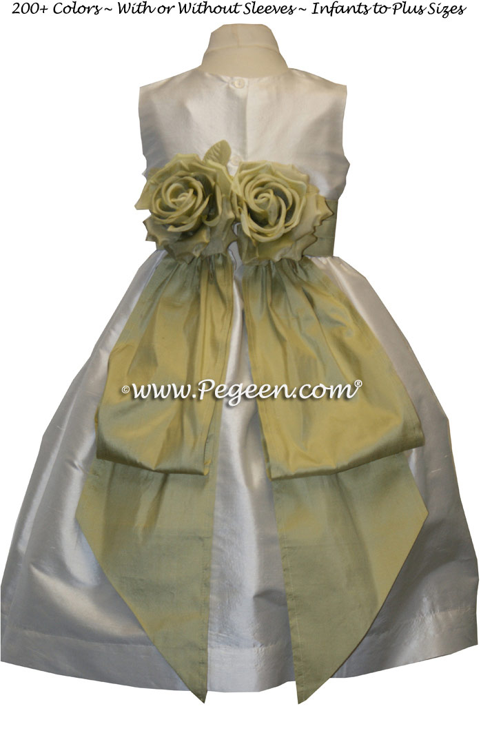 New Ivory and Celery Green flower girl dresses by Pegeen