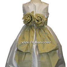 New Ivory and Celery Green Flower Girl Dresses With Flowers and Bustle
