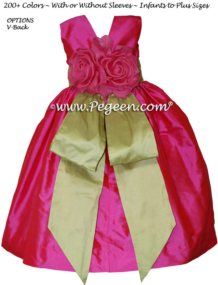 Cerise Hot Pink and Citrus Green flower girl dress or junior bridesmaid dress style 383 by Pegeen