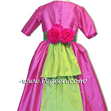 cerise pink and lime green flower girl dresses