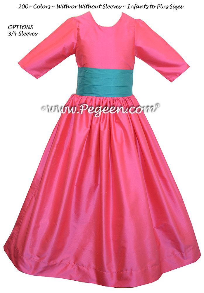 OCEANANIC and CERISE PINK Silk flower girl dress style 398