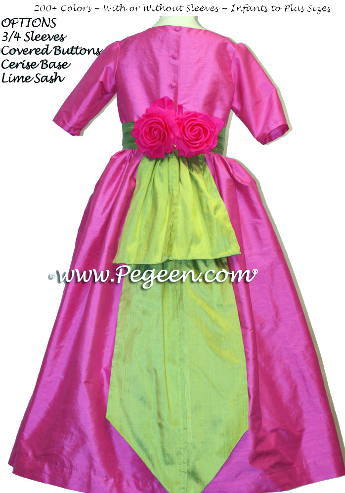 Cerise Hot Pink and Lime Green flower girl dress or junior bridesmaid dress style 383 by Pegeen