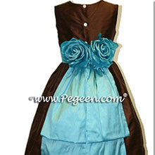 chocolate brown and tiffany blue flower girl dresses