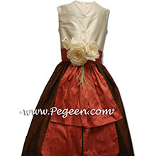 CHOCOLATE BROWN AND SALMON FLAME FLOWER GIRL dresses