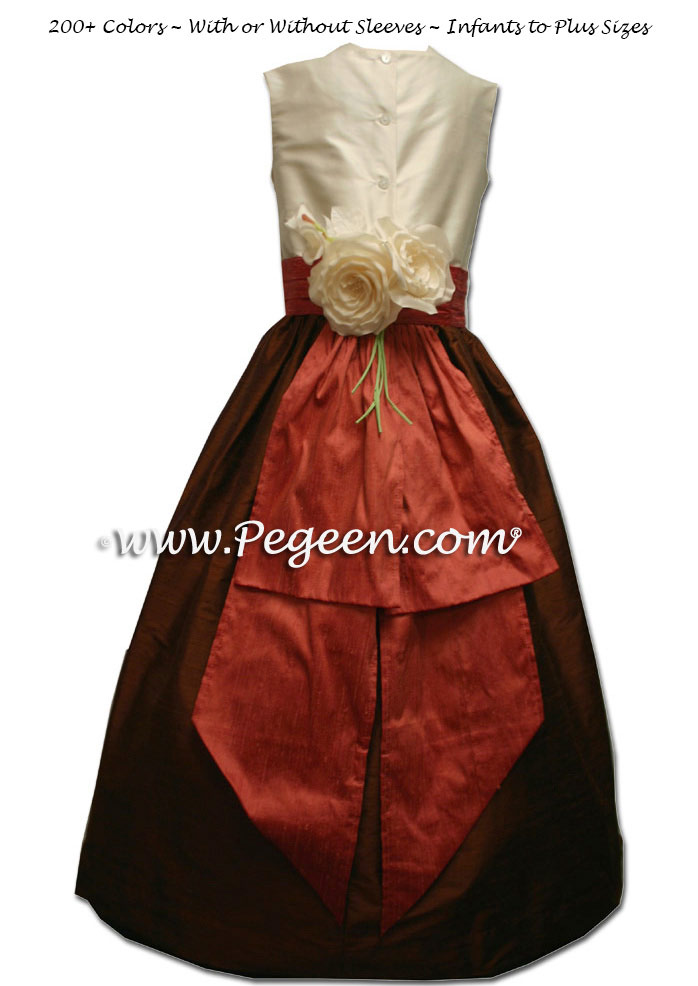 Chocolate brown, Salmon Flame and New Ivory Custom Flower Girl Dresses Style 383
