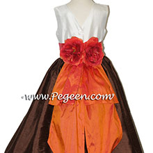 chocolate and mango orange flower girl dresses