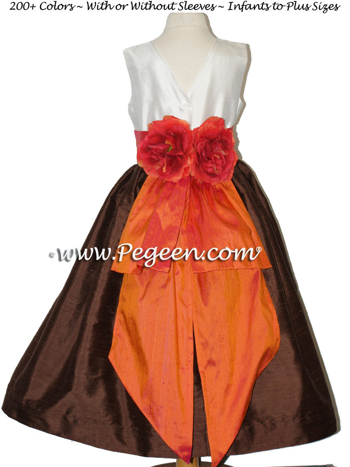 Chocolate brown and mango orange flower girl dresses Style 383