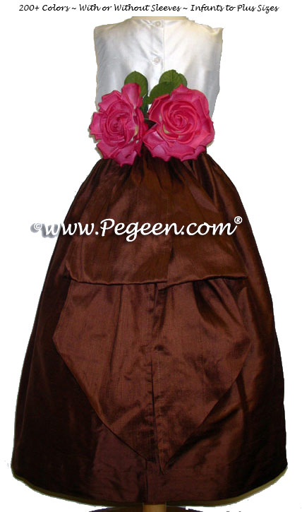 Chocolate brown and New Ivory Custom Flower Girl Dresses Style 383