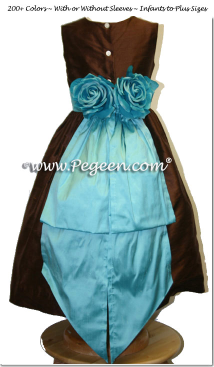 Chocolate Brown and Tiffany Blue Silk Flower Girl Dress with Hand Made Silk Roses