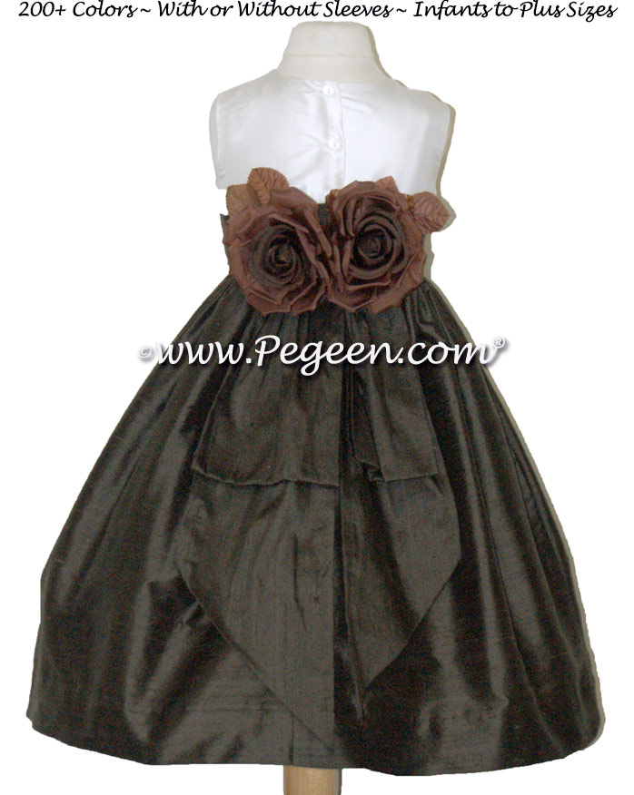 Chocolate Brown and New Ivory Silk Flower Girl Dress with Hand Made Silk Roses
