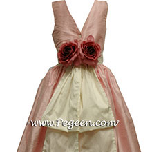 Pink cottoncandy silk junior bridesmaids dresses
