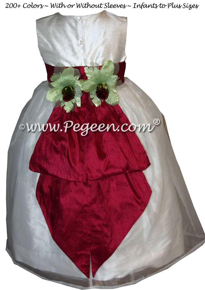 White and Cranberry custom silk flower girl dresses