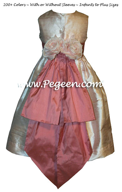 Blush Pink and Dark Rose Silk FLOWER GIRL DRESSES by PEGEEN