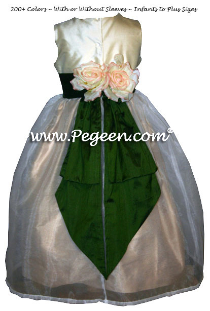 Silk organza flower girl dress in Wheat, Parsley and Ivory style 313
