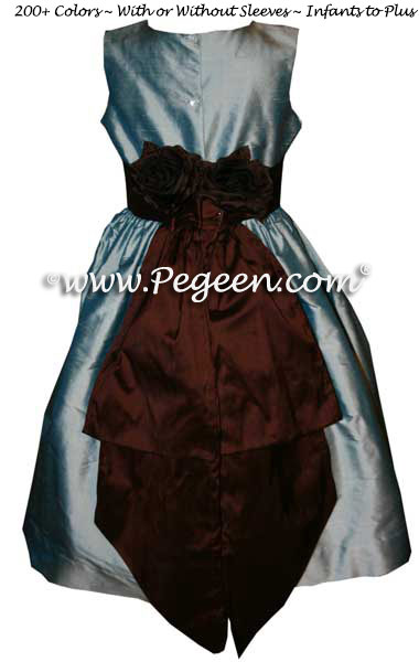 Caribbean blue and chocolate brown Jim Hjelm Matching flower girl dresses