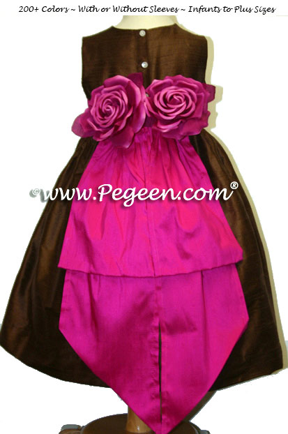 Chocolate Brown and Raspberry Pink Silk Flower Girl Dress with Hand Made Silk Roses