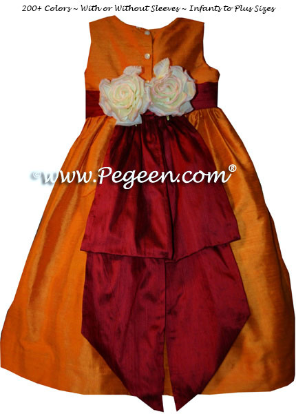Tangerine and cranberry custom flower girl dresses Style 383