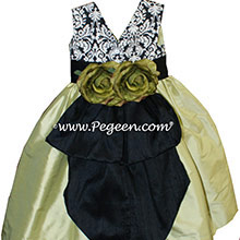BLACK and WHITE DAMASK with Citrus Green Flower Girl silk dress