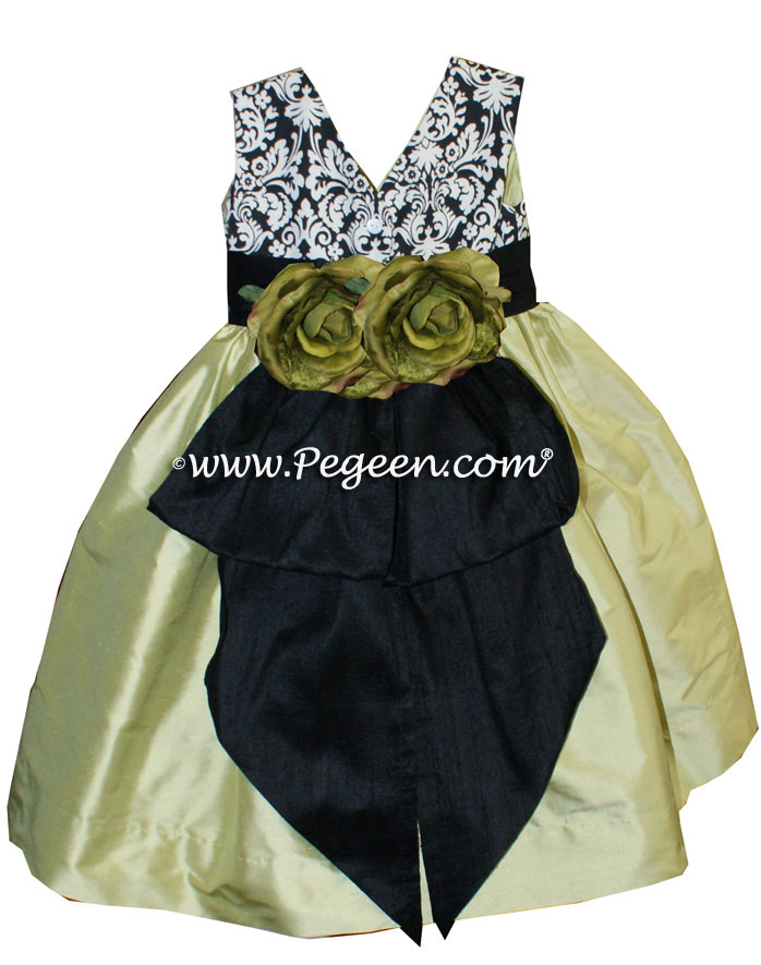 Black And White Damask Flower Girl Dress with Citrus Green style 355