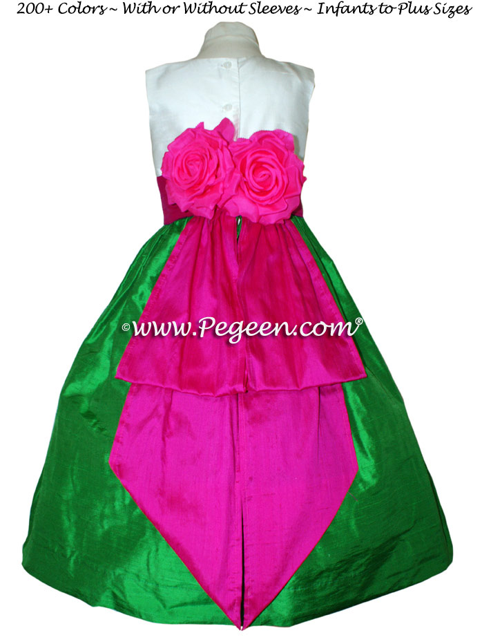 Emerald Green, Fuschia and Antique White Silk Flower Girl Dresses Style 383
