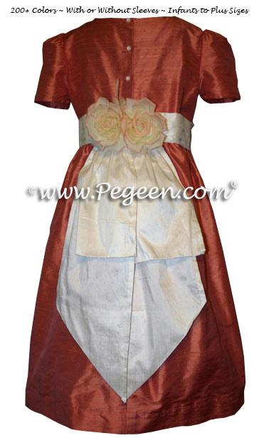Flame or Deep Peach Flower Girl Dresses Style 383