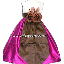 chocolate and flamingo pink silk flower girl dresses