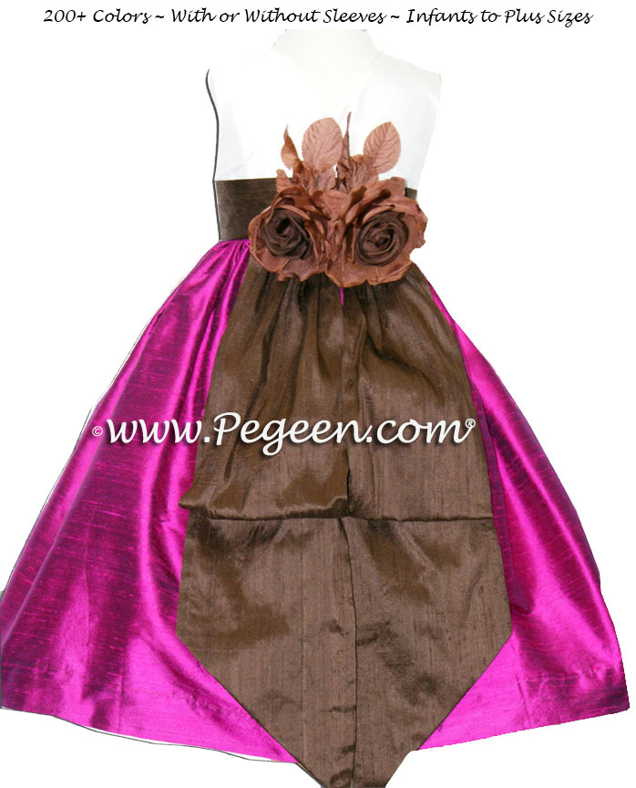 Flamingo and Chocolate Brown flower girl dresses with bisque bodice Style 383