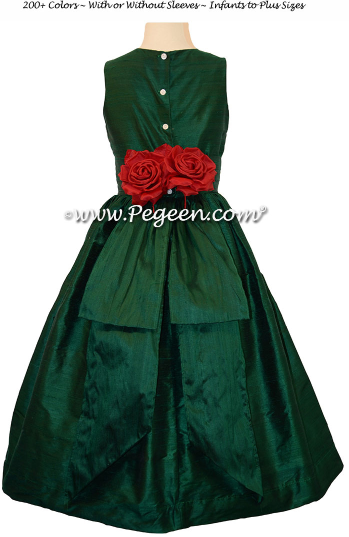Forest Green flower girl dress with red hand made silk flowers Style 383